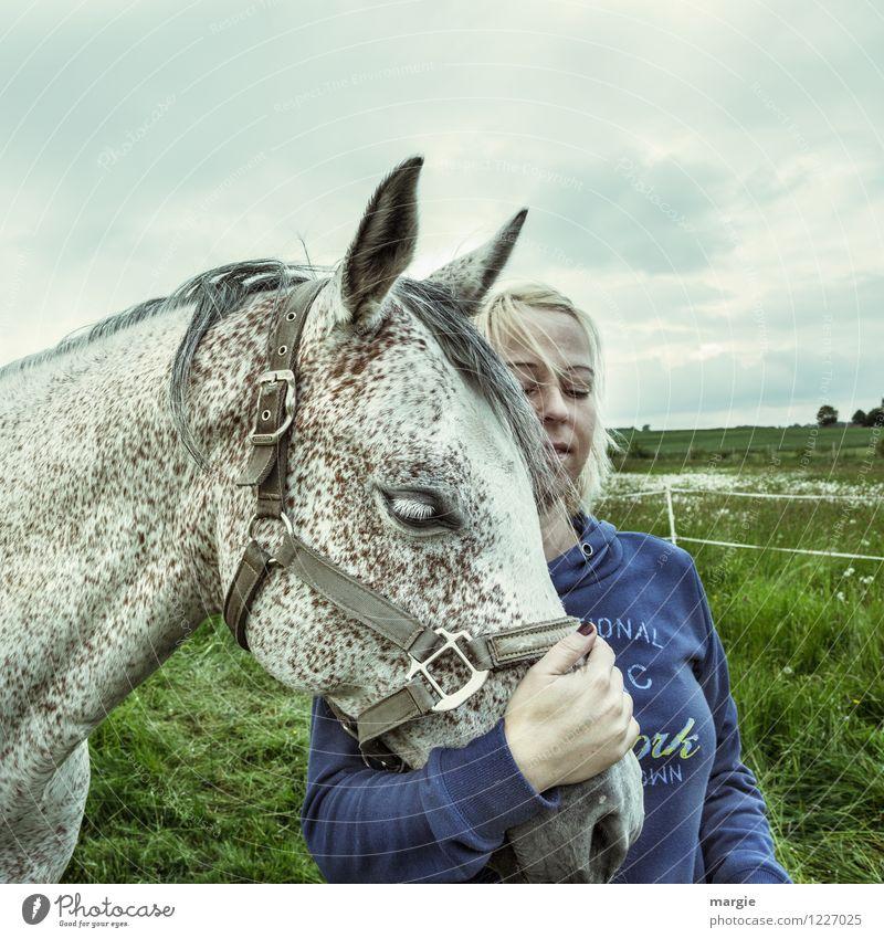 Pferde - Liebe II Reiten feminin Junge Frau Jugendliche Erwachsene 1 Mensch Himmel Wolken Wiese Feld Tier Haustier Fell Schimmel genießen blond Glück blau weiß