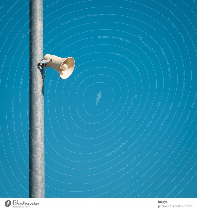Ansage blau weiß grau ästhetisch einfach Schönes Wetter Information Wolkenloser Himmel Dienstleistungsgewerbe Informationstechnologie Erwartung Lautsprecher