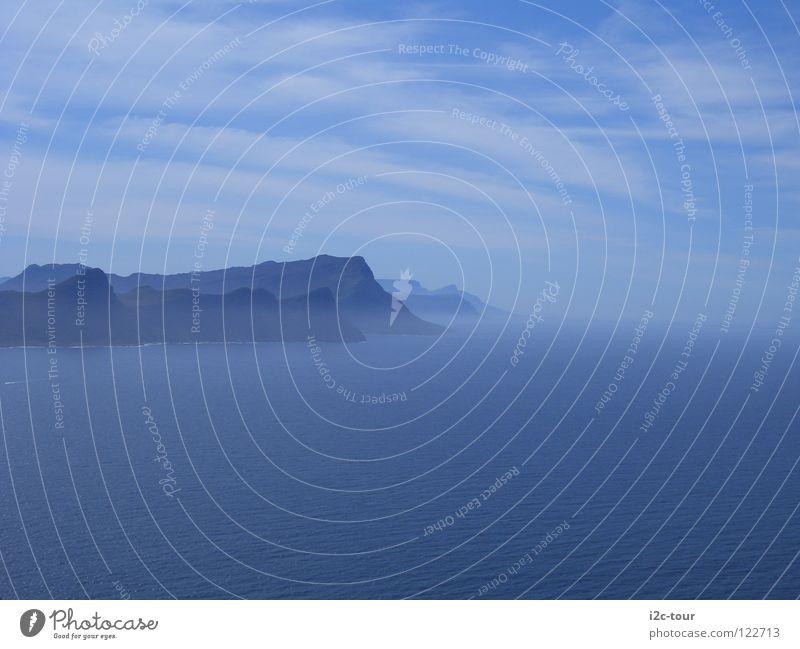 Der Frieden im Nebel Hoffnung Meer Wolken Kap Südafrika Himmel Berge u. Gebirge blau Wasser