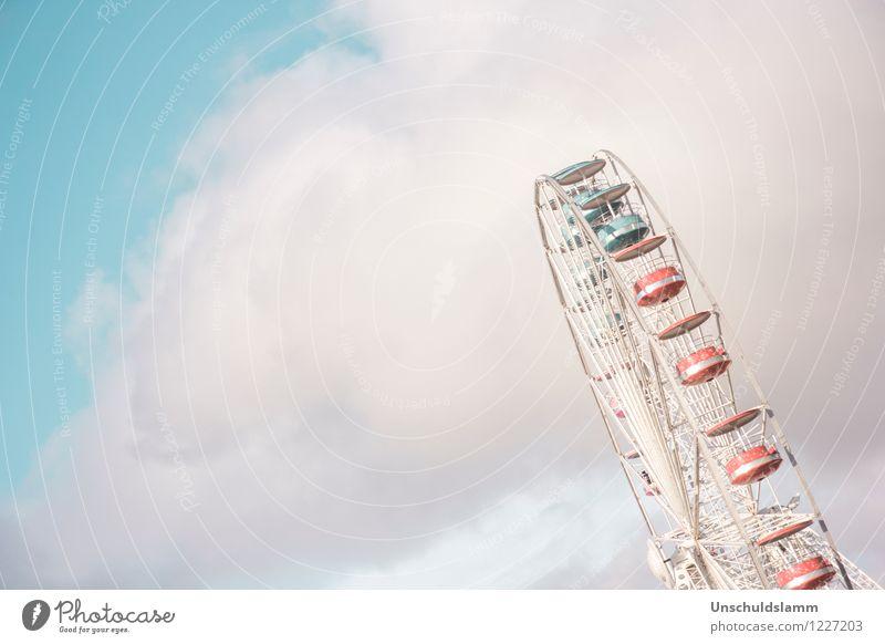 Wolkenreise Lifestyle Riesenrad Vergnügungspark Sightseeing Sommer Jahrmarkt Luft Himmel drehen Fröhlichkeit schön blau mehrfarbig Stimmung Freude Glück Leben