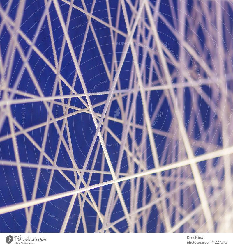 Network blau weiß Wege & Pfade Linie Design Erfolg Kommunizieren Zeichen Schnur Güterverkehr & Logistik Netzwerk Partnerschaft chaotisch Verbindung Irritation