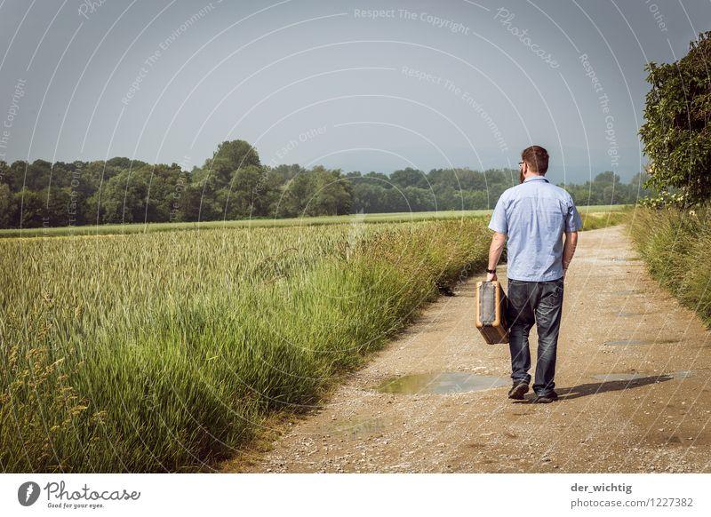 leaving home 5 Mensch Himmel Ferien & Urlaub & Reisen Mann Sommer Sonne Baum Einsamkeit Landschaft Ferne Erwachsene Wege & Pfade Freiheit gehen Horizont