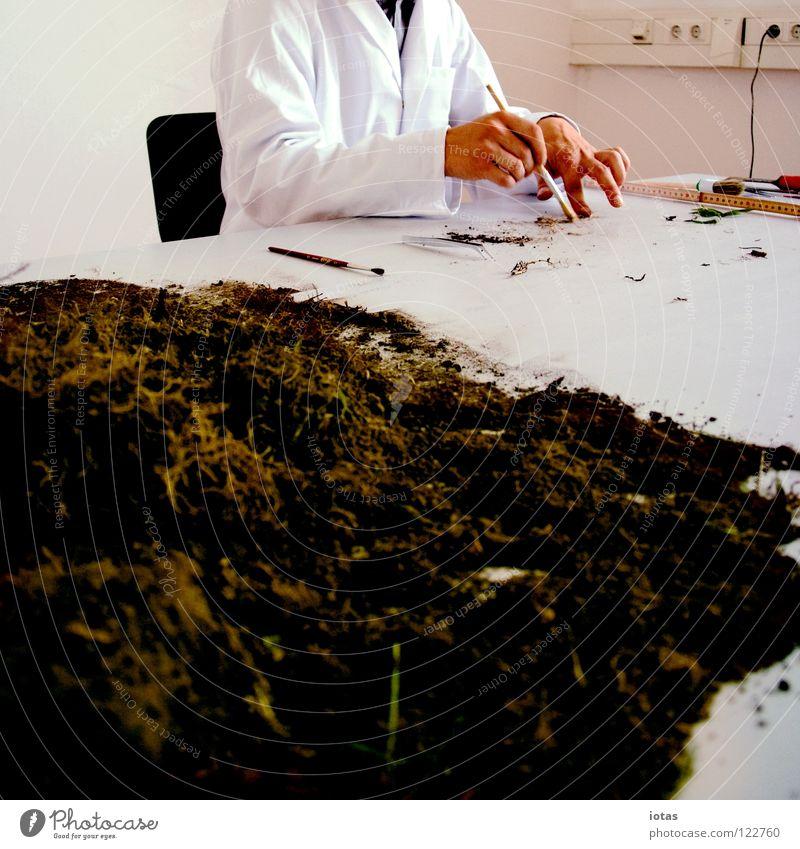. Hand forschen Labor Kittel Wissenschaftler Wissenschaften untersuchen Pinsel berühren Tisch Mann maskulin Kunst Kunsthandwerk Dienstleistungsgewerbe