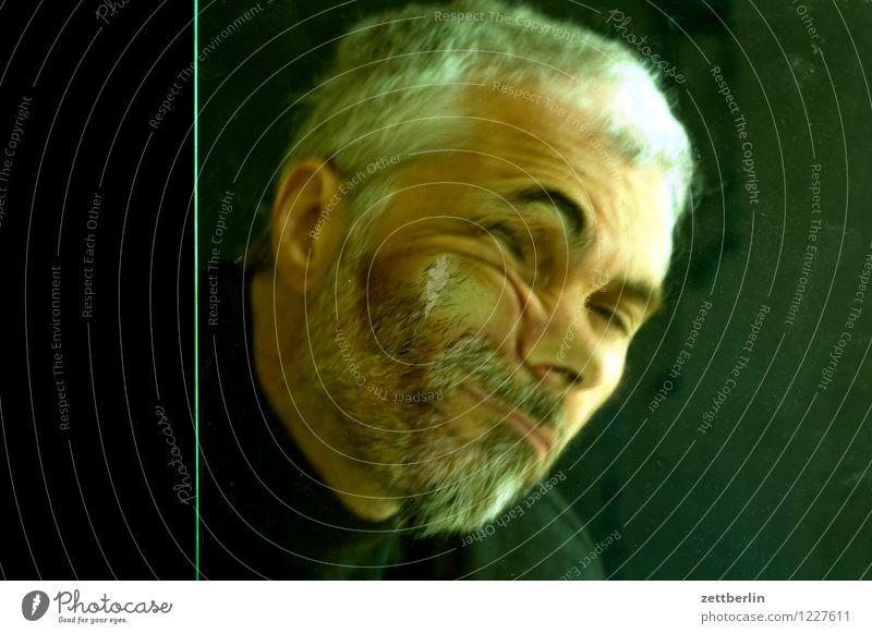4000 Mensch Mann Gesicht Auge lustig Kopf Angst Glas Textfreiraum Mund Nase Todesangst Platzangst Zukunftsangst Höhenangst Flugangst