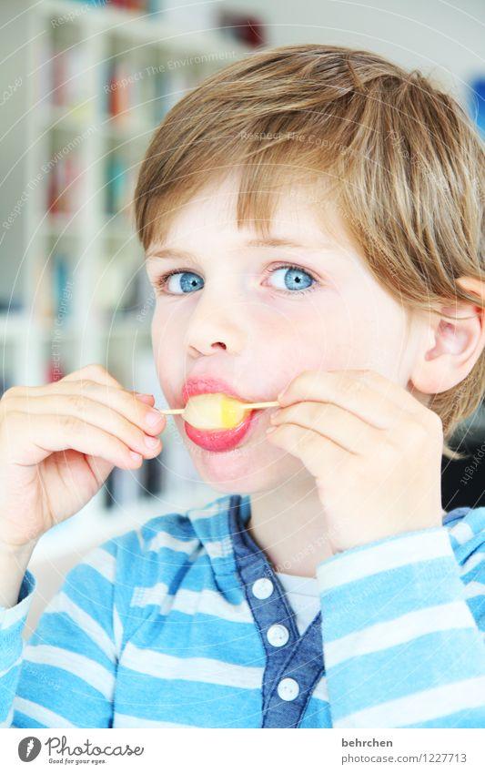 eis geht immer! Kind blau Hand Gesicht Auge Junge Essen Familie & Verwandtschaft Haare & Frisuren Kopf Kindheit blond Haut Mund beobachten Speiseeis