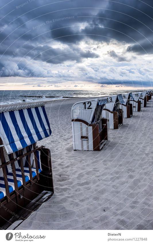 Am Morgen Umwelt Landschaft Sand Himmel Wolken Gewitterwolken Sonnenaufgang Sonnenuntergang Sommer Klima Wetter Wind Sturm Wellen Küste Ostsee Meer blau schwarz