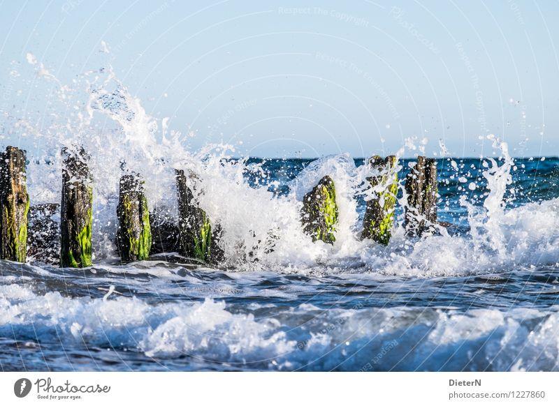 Wellenbrecher Strand Meer Landschaft Wasser Horizont Schönes Wetter Wind Sturm Küste Ostsee blau grün weiß Kühlungsborn Mecklenburg-Vorpommern Buhne Gischt