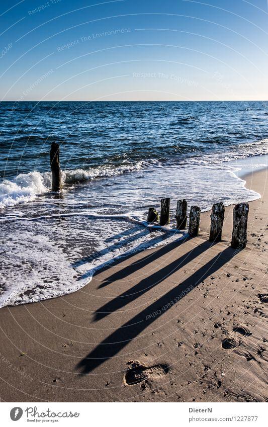 Lange Schatten Strand Meer Natur Landschaft Sand Wasser Horizont Schönes Wetter Wellen Küste Ostsee blau braun schwarz weiß Kühlungsborn Mecklenburg-Vorpommern