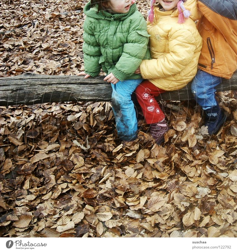 gestern auf dem spielplatz .. II Kind Kindergartenkind Hose Jacke kalt Herbst Winter Spielen toben frieren Blatt Baumstamm braun mehrfarbig Freude Außenaufnahme