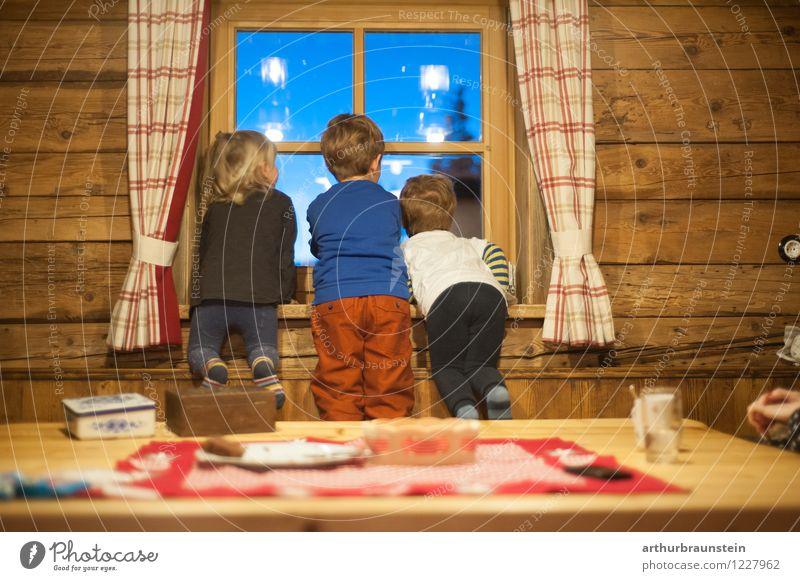 Spannendes von der Almhütte Mensch Kind Ferien & Urlaub & Reisen Haus Winter Berge u. Gebirge Leben Innenarchitektur Junge Holz Freundschaft maskulin