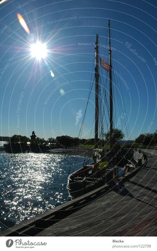 Gegen die Sonne Natur Wasser Sonne Herbst Landschaft Europa Norwegen Segelschiff Skandinavien