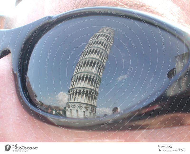 Der schiefe Turm Gesicht Kunst Italien Neigung Sonnenbrille Sehenswürdigkeit Brille Toskana PISA-Studie