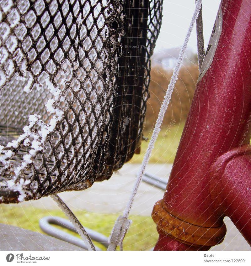Frost-Loch Fahrrad Korb Gitter kalt Draht schwarz weiß rot grün Gras verfallen Freizeit & Hobby Bautenzug silber Rost Rasen reparaturbedürftig Eis Einsamkeit