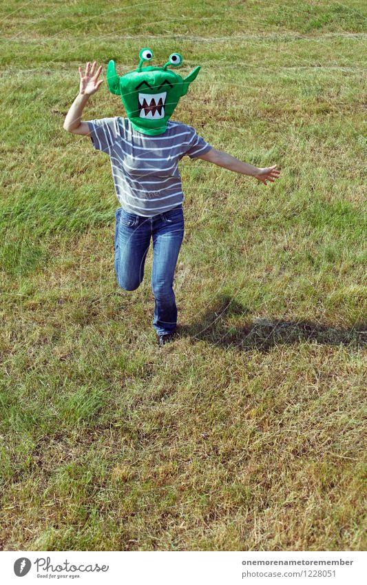 Uuuaaah! grün Freude Bewegung feminin Kunst ästhetisch verrückt laufen Gemälde rennen Maske Flucht Kunstwerk Kostüm Karnevalskostüm gestikulieren