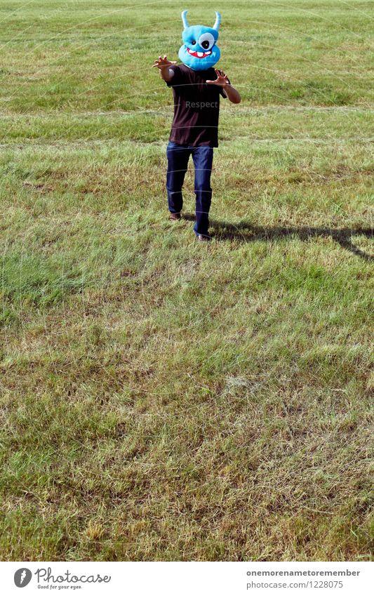 MUHAHA! blau Freude Kunst ästhetisch laufen gefährlich bedrohlich Jugendkultur Risiko Maske Jagd Kunstwerk Monster spaßig Spaßvogel Außerirdischer