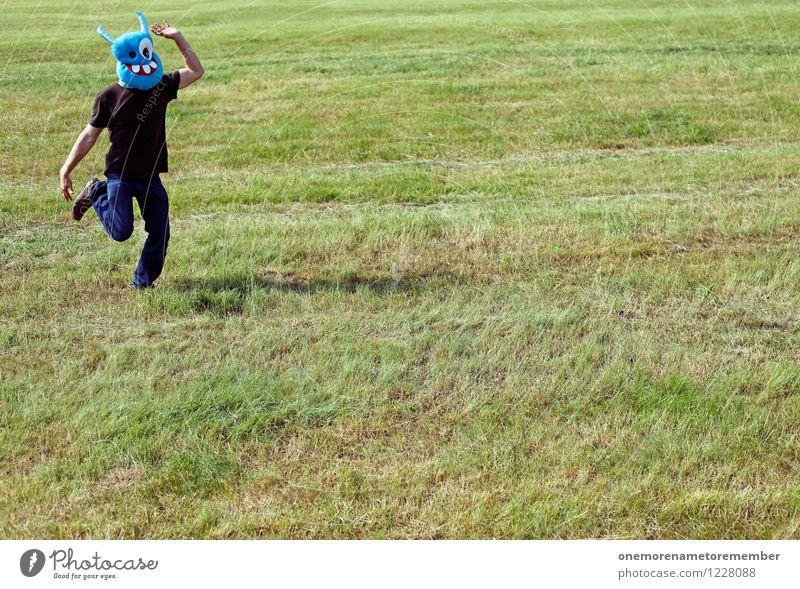 durchgeknallt I grün Freude Wiese Spielen Kunst ästhetisch laufen Kreativität rennen Maske Flucht Kunstwerk Kostüm spaßig toben Spaßvogel