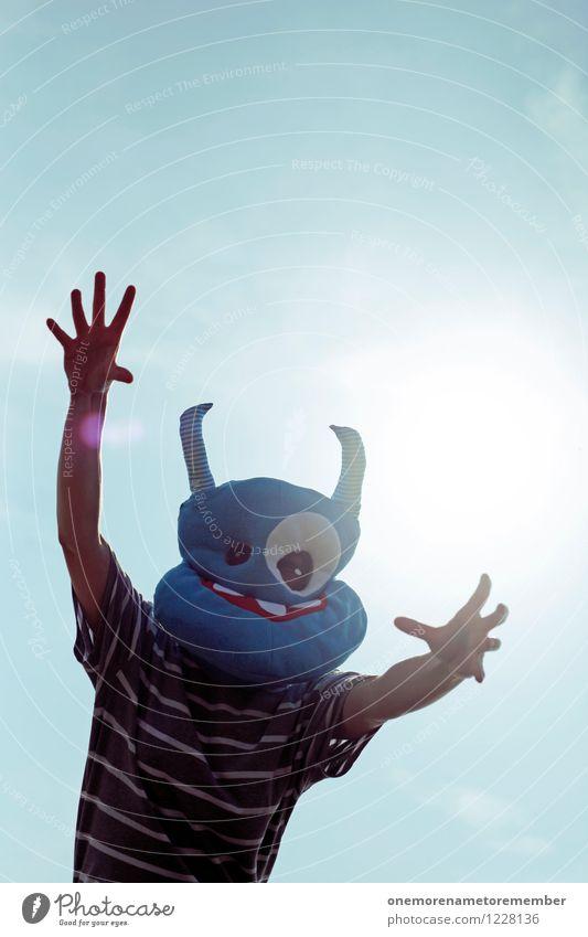 ergriffen blau Freude lustig Kunst ästhetisch Freundlichkeit Wunsch Maske Karneval Umarmen Kunstwerk Kostüm greifen Karnevalskostüm friedlich Monster
