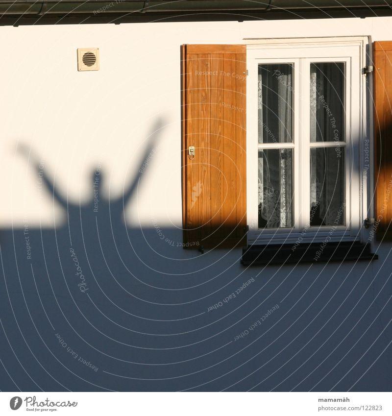Schattenmann Mann Erwachsene Arme Hand Schönes Wetter Fenster groß Fensterladen Wand Hände hoch Hallo winken Halleluja Oberkörper Sonnenlicht Sprossenfenster