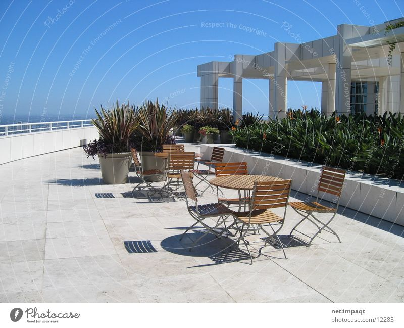 Terasse @ Getty Center Architektur Wohnung Platz Pause Stuhl Terrasse Museum Kalifornien Rastplatz Los Angeles