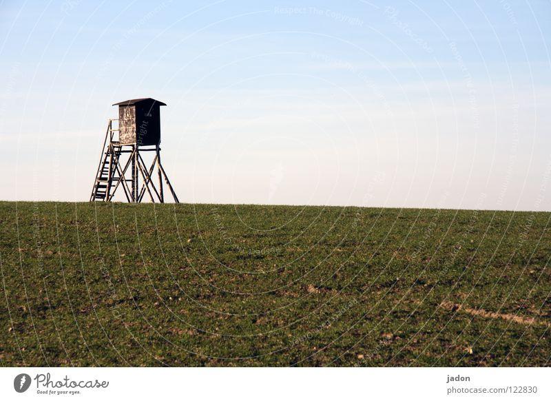 Standpunkt Himmel blau weiß Wolken ruhig Einsamkeit Ferne Wiese Landschaft Horizont Raum Feld Hintergrundbild Wohnung Sicherheit Turm