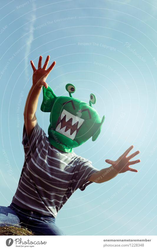 Alien Hug grün Kunst ästhetisch bedrohlich Weltall Maske Aggression Kunstwerk Kostüm Monster Außerirdischer Angriff Fremder außerirdisch angriffslustig ungeheuerlich