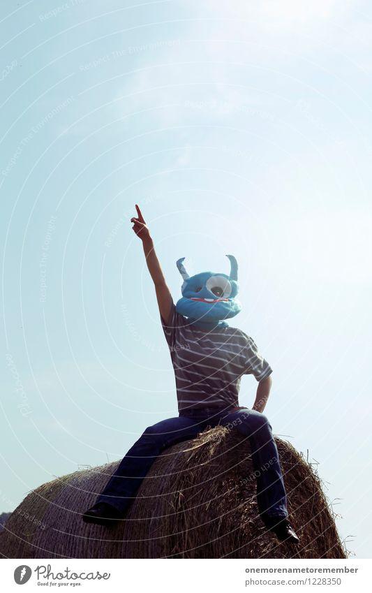 Auf zum Atem! Ferien & Urlaub & Reisen Sonne Freude Kunst sitzen ästhetisch Beginn Coolness zeigen Maske Kunstwerk Kostüm Blauer Himmel Motivation Monster