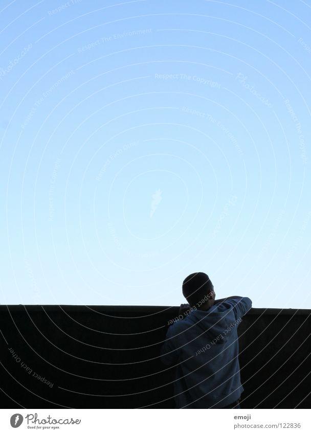 hello world! Mann Silhouette Hallo Zukunft ungewiss hängen himmelblau Fragen See Hoffnung Wunsch Luzern leicht modern Himmel Kraft Rücken Erde Blick future back