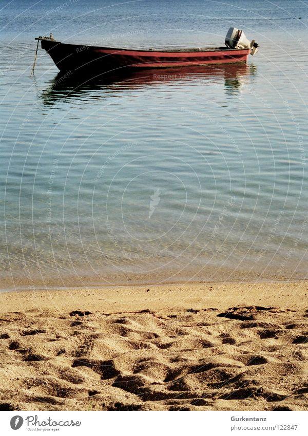 Polynesischer Strand Wasser Strand ruhig Sand Wasserfahrzeug Küste einfach Langeweile Motor Fischer Karibisches Meer Pazifik Fischerboot Kahn Australien + Ozeanien Fidschiinseln
