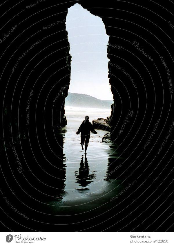 Schattenlaufen Wasser Meer Strand Berge u. Gebirge Regen Küste nass Kathedrale Neuseeland Höhle Gezeiten Ebbe Südinsel