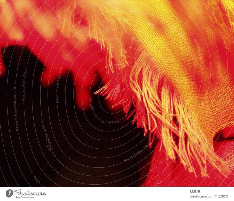 Fransenstoff Stoff Schal rot gelb schwarz Muster Textilien gewebt Am Rand Bekleidung orange augefranst Nähgarn