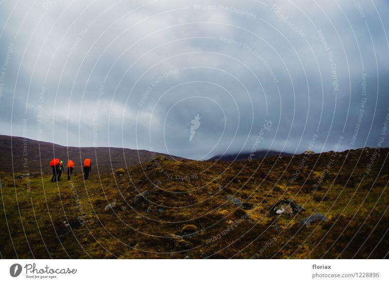 Aufstieg in die Highlands 1/2 Mensch Himmel Natur Ferien & Urlaub & Reisen Pflanze rot Landschaft Wolken Ferne Berge u. Gebirge Sport Freiheit Wetter Luft