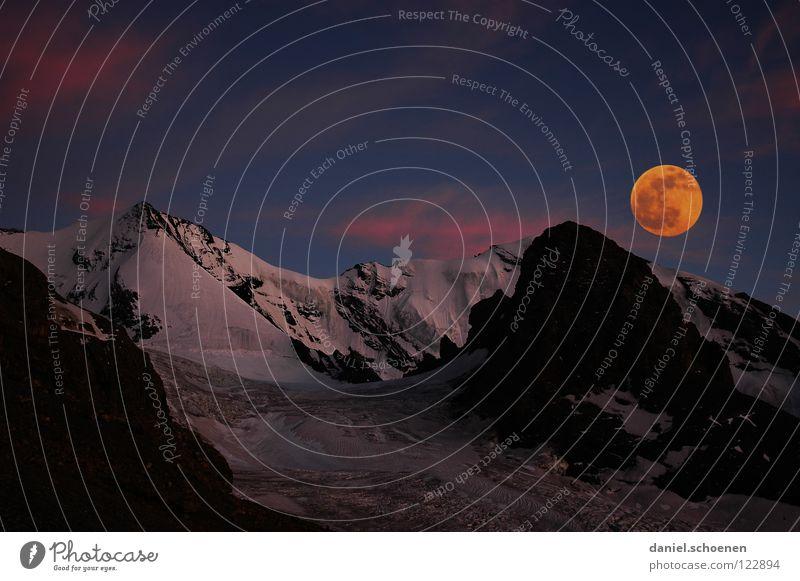 da heult der Hüttenhund Vollmond Sonnenuntergang Gipfel Gletscher Cirrus Klimawandel Schweiz Berner Oberland wandern Bergsteigen Freizeit & Hobby Ausdauer weiß