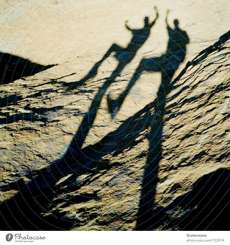 Hampelschatten zappeln winken Türkei Cappadocia Duett Mann Freude Stein Mineralien Schatten Mensch Silhouette Hampelmann