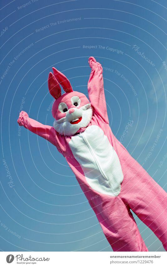 Jippie! Freude lustig Kunst rosa ästhetisch Arme Leichtigkeit positiv Hase & Kaninchen Kunstwerk Kostüm Karnevalskostüm Applaus spaßig Spaßvogel Hasenbraten