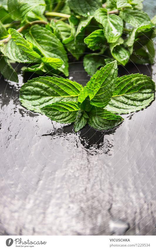 Frische Minze auf nassem Tisch Natur Wasser Gesunde Ernährung schwarz Leben Stil Garten Lebensmittel Design Wassertropfen Kräuter & Gewürze Tropfen Bioprodukte