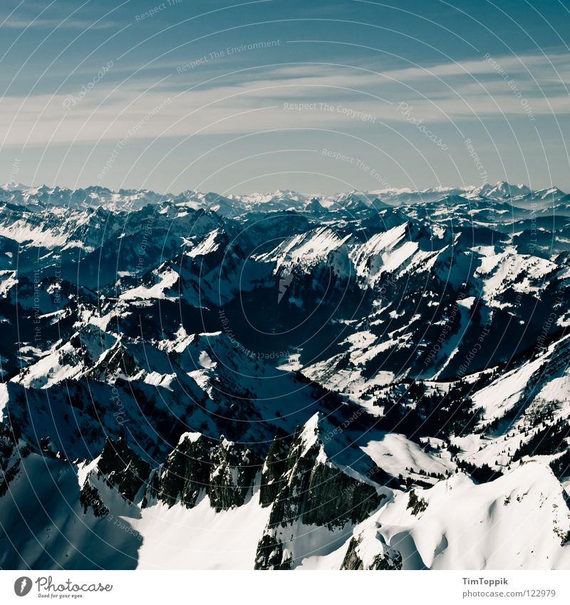 Hollerididödeldu Nebel steil Steigung Berghang Bergsteigen Berg Säntis Kanton Appenzell Aussicht Winter Panorama (Aussicht) Schweiz Bergkette Ferne Bergkamm