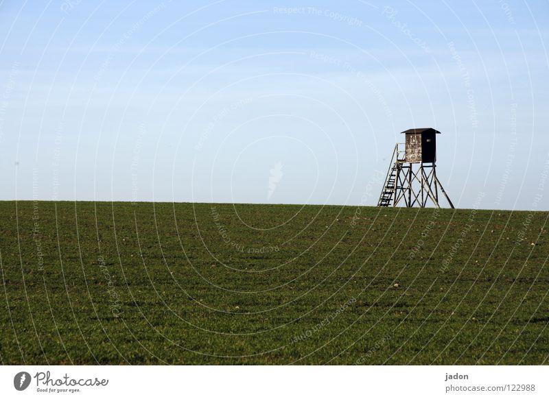 Schöne Aussicht Hochsitz Wiese Feld Wolken Jäger planen Einsamkeit weiß Horizont ruhig Hintergrundbild Brandenburg Wohnung Raum sehr wenige Sicherheit Turm