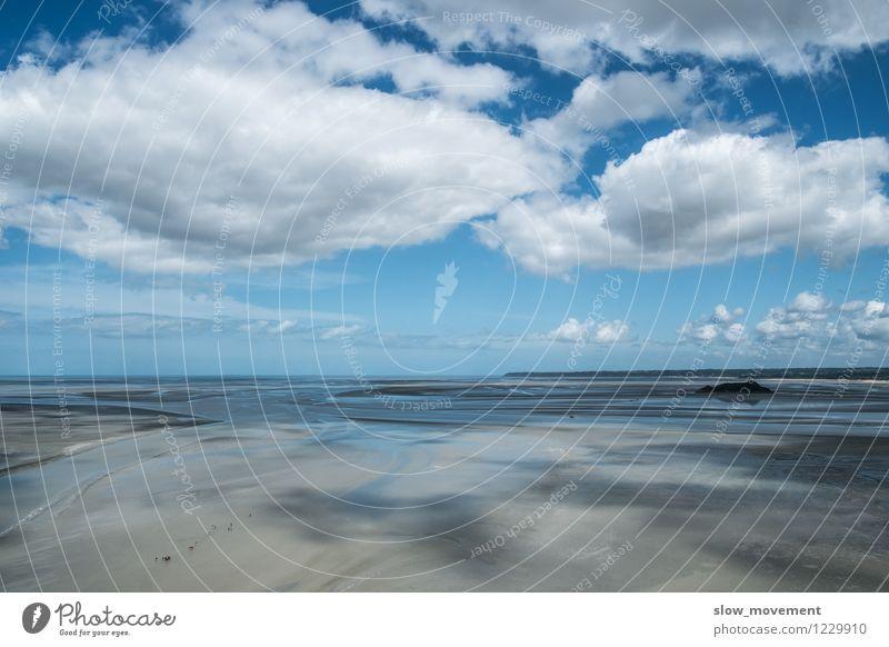 Wattwanderung (St. Michel - Bretagne - Frankreich) Mensch Himmel Natur Ferien & Urlaub & Reisen Jugendliche blau schön Sommer weiß Erholung Meer Landschaft