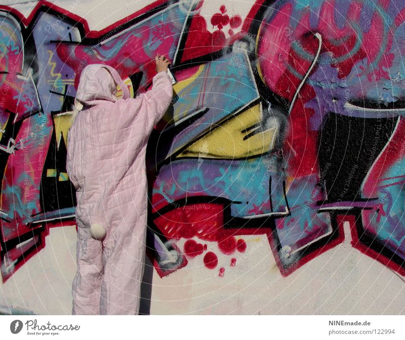 HasenMission | 2008 - sprayer Mensch blau weiß Freude Tier schwarz gelb Graffiti Mauer lustig Arbeit & Erwerbstätigkeit rosa offen Schriftzeichen