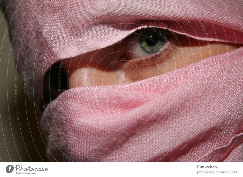 Augen blicken! Wimpern Pupille rosa grün grau schwarz Wand umwickelt Wange verwundbar Schwäche Angst Vorsicht zögern Zwinkern Frau Regenbogenhaut Schatten