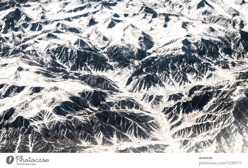 Himalaya Natur Landschaft Winter Eis Frost Schnee Berge u. Gebirge Gipfel fliegen China Flugzeug Farbfoto Gedeckte Farben Außenaufnahme Luftaufnahme abstrakt
