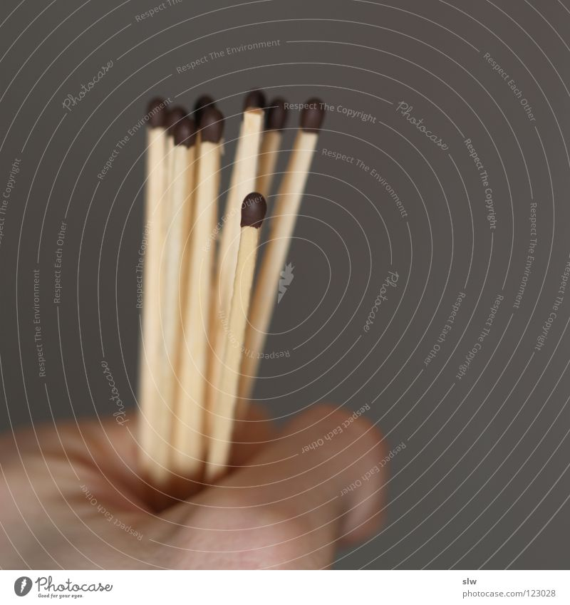 Zündhölzer Streichholz Hand grau zünden anzünden brennen Makroaufnahme Nahaufnahme Brand Raten ziehen