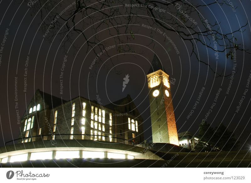 Cornell Night New York State USA Bildung Ithaca Cornell Tower Winter Night Uris Library Olin Library Big Red Study