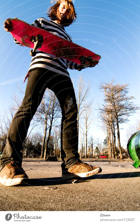 I am ready fertig Stimmung Skateboarding Zufriedenheit gestreift Teer Beton Licht Baum Weitwinkel Jugendliche Sport Park stehen rosa Sommer hell-blau Funsport