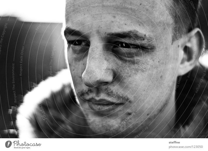 Der Zwillingsmitbewohner Mann schön Gesicht ruhig Auge Gefühle lachen Kopf Kraft Nase Sicherheit Lippen Student Vertrauen Konzentration Bart