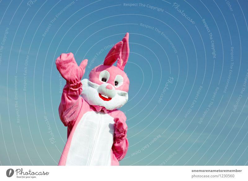 Hallo! Hand Freude Spielen Kunst rosa ästhetisch Freundlichkeit Hase & Kaninchen Kunstwerk Kostüm Karnevalskostüm winken Begrüßung spaßig Spaßvogel