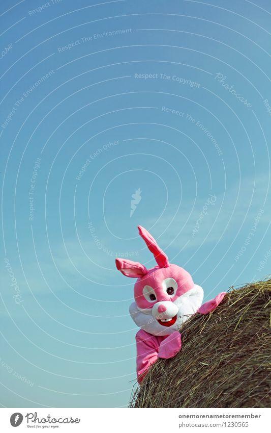 Happy Day Freude Kunst rosa ästhetisch Maske Hase & Kaninchen Kunstwerk Kostüm Karnevalskostüm spaßig Spaßvogel Strohballen Heuballen Hasenbraten Hasenohren Spaßgesellschaft
