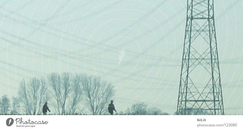 UNTER STROM G(ST)EHEN Mensch Himmel Baum Winter Ferien & Urlaub & Reisen kalt Paar Linie Deutschland gehen Nebel Wetter Energiewirtschaft Elektrizität Netzwerk