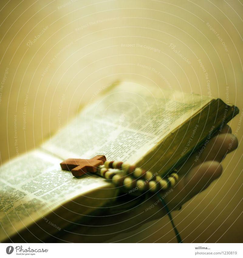 alte Bibel mit Rosenkranz Hand Religion & Glaube Finger Hoffnung Christliches Kreuz Gott heilig antiquarisch Gebetskette Gebetsbuch Heiligenkreuz