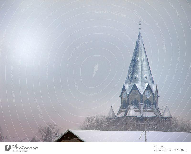 No matter how ... III Kirche Bauwerk Gebäude Architektur Glaube Religion & Glaube Winter Wintertag Winterstimmung Schnee Kirchturm Kirchturmspitze kalt